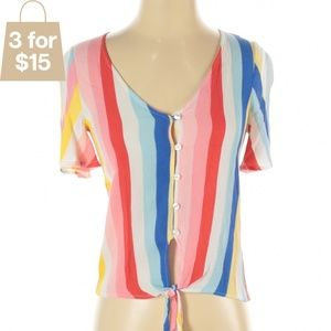 XS/S Button Up Rainbow Blouse Crop Top with Tie
